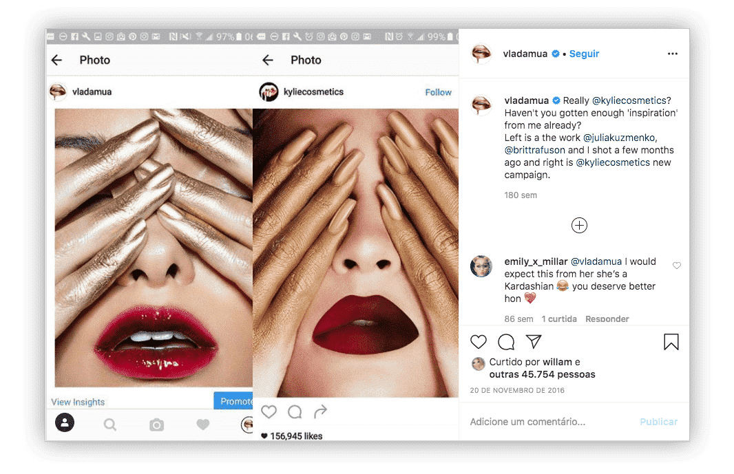 Vladda Haggerty acusou a Kylie Cosmetics, da empresária e socialite norte-americana Kylie Jenner de plágio