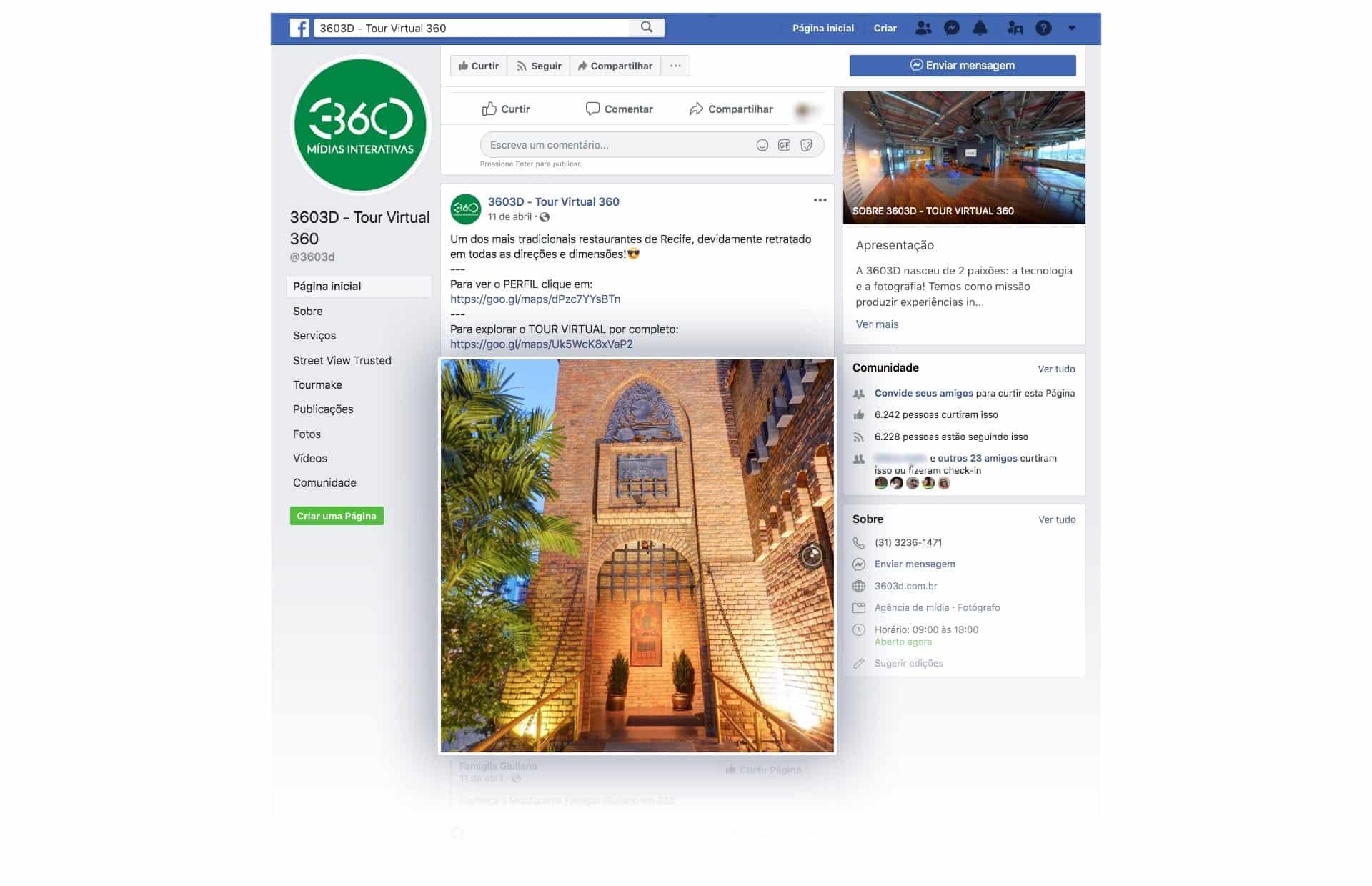 Print Screen de Timeline do Facebook com uma postagem de foto 360