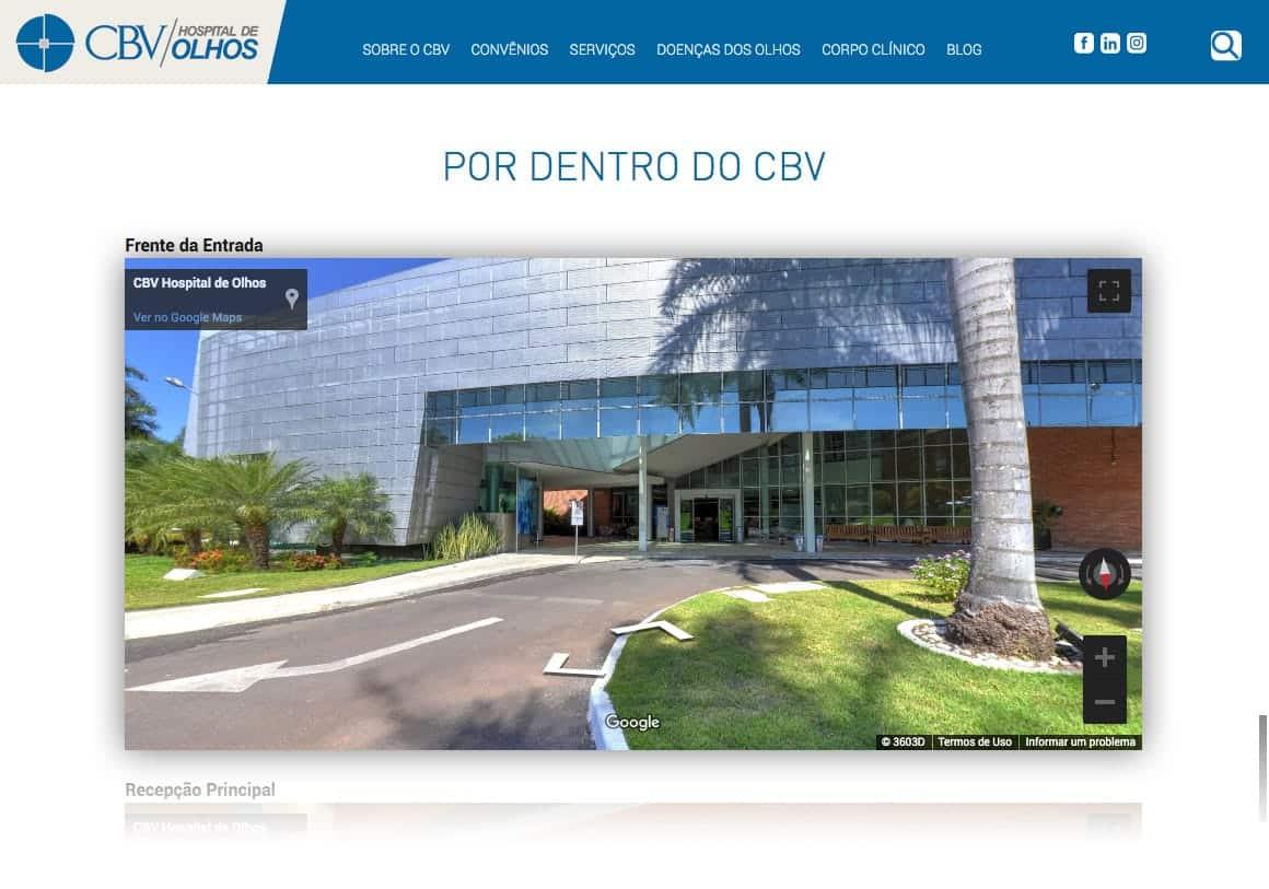 CBV - Brasília - Print de tela com tour virtual do Google no website