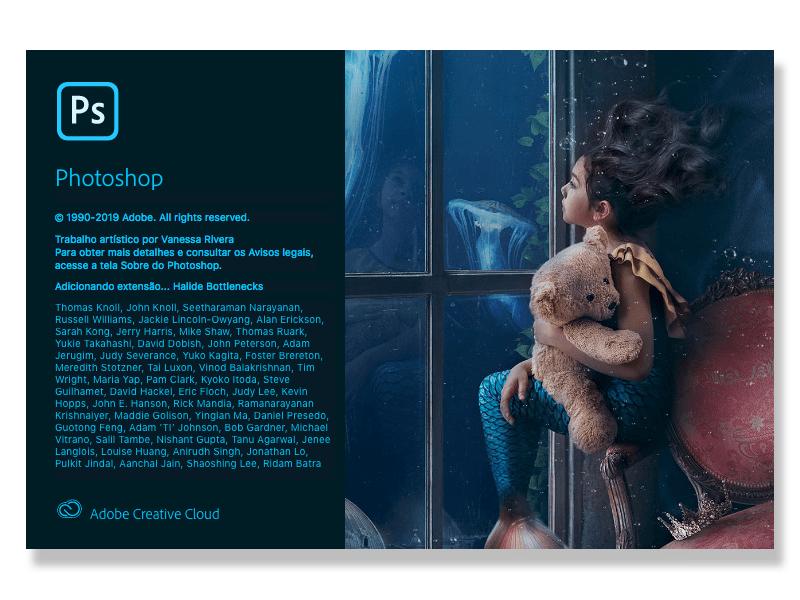 Tela de início do Photoshop 2020