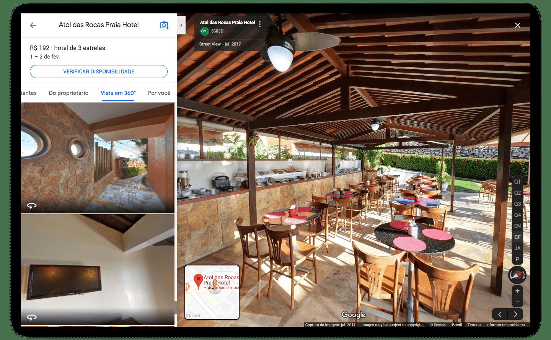 Print de tela de como as fotos 360 incorporadas ao perfil aparecem na busca do Google