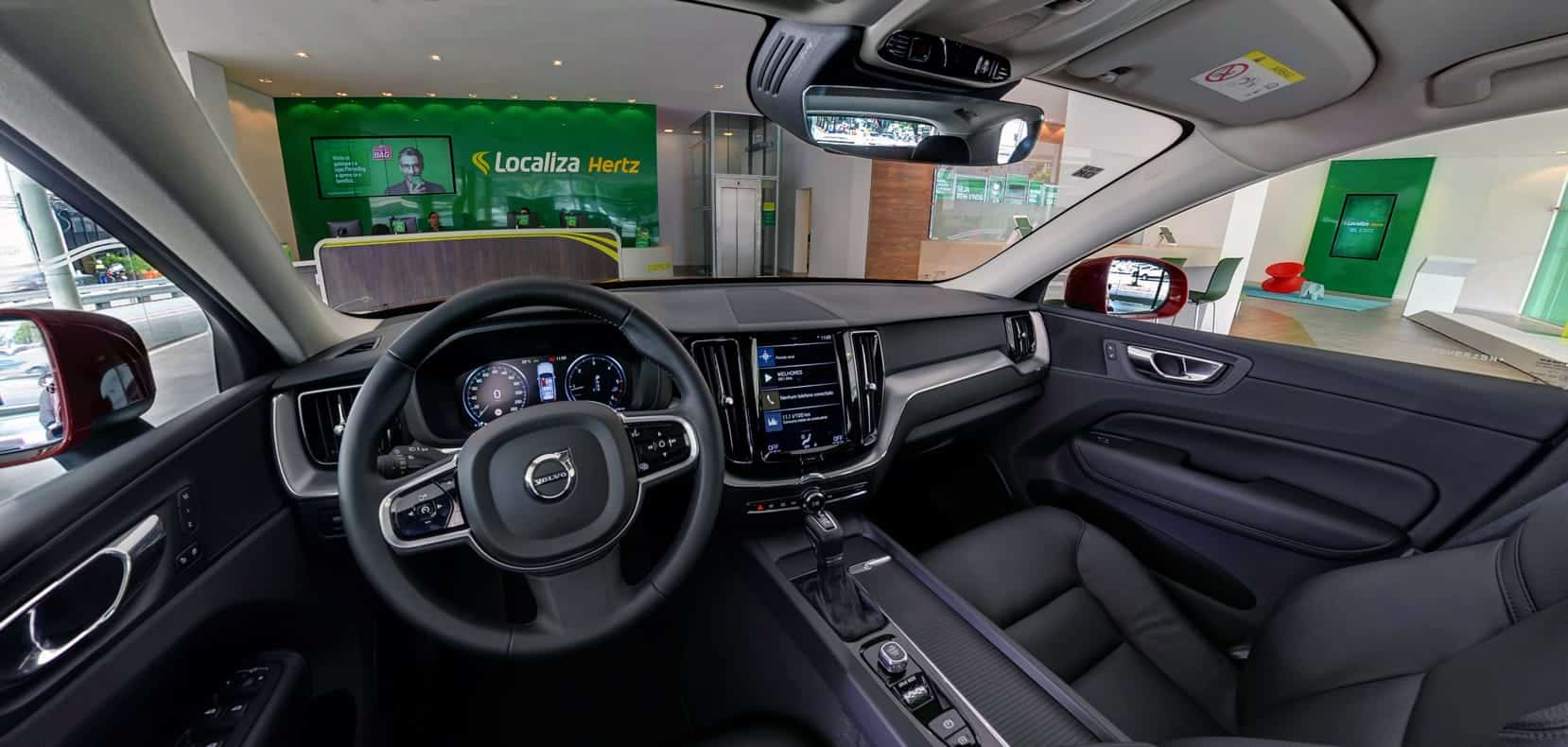 Tour virtual do interior do Volvo XC 60 da Localiza Hertz Savassi
